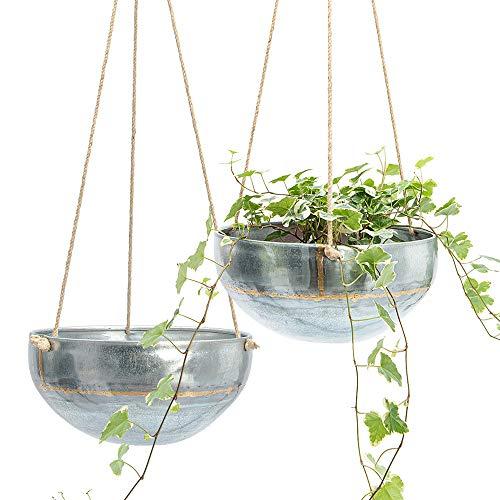 Set 2 Hanging Planter for Outdoor & Indoor Plants, Galvanized Iron Pot, Large Flower Hanger for Patio, Window, Garden, Balcony and Terrace, Modern Hang Basket with Rope, Boho Chic Metal Holder (Indoor Planters Metal)