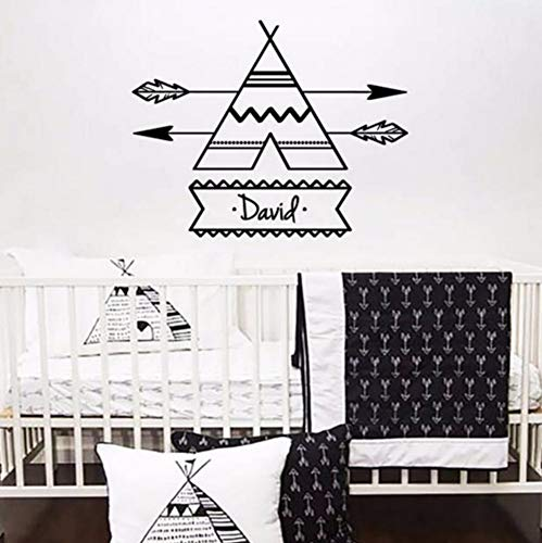 (LSFHB Vinyl Wall Sticker for Kid Room Decoration Teepee Arrow Personalized Custome Name Decal Bedroom Nursery Home Art Poster)