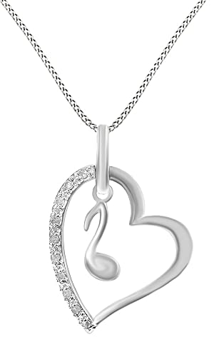 Jewel Zone US 14k Gold Over Sterling Silver White Natural Diamond Music Note Pendant Necklace 0.1 Ct