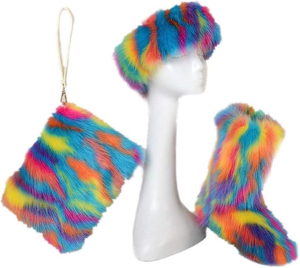 LVCOMEFF Women Ranking TOP19 Faux Fur Snow Handbag Award-winning store Boot Headba Lining with