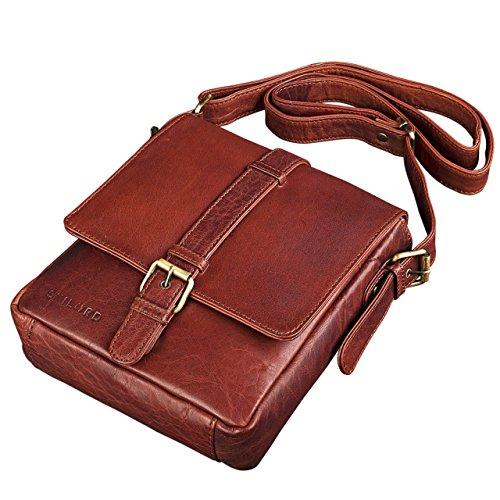 STILORD 'Jonah' Vintage Bolso bandolera Hombres pequeño de piel para Tablets 8.4 pulgada / Mensajero de cuero auténtico, Color:cognac - used siena - marrón