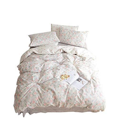 BuLuTu Floral Girls Duvet Cover Set Twin Cotton Grey Reversible Vintage Flower Kids Twin Bedding Sets Gray,Premium Super Soft Duvet Cover Teen,Comfortable,Lightweight,Breathable,NO COMFORTER