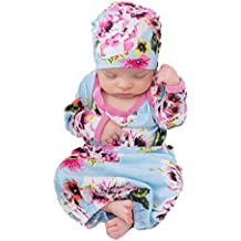 Baby Be Mine Newborn Gown and Hat Set Layette Romper Coming Home Outfit