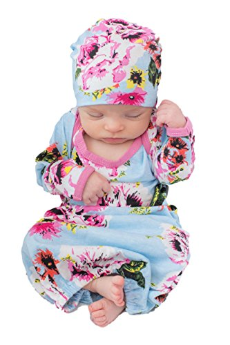 Baby Be Mine Newborn Gown and Hat Set Layette Romper Coming Home Outfit (Newborn 0-3 Months, Isla)