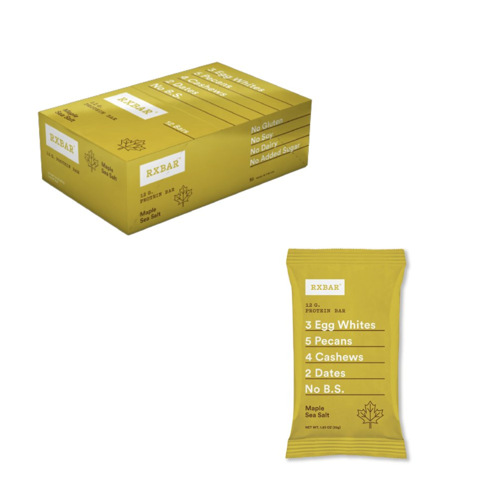 RXBAR Maple Sea Salt Real Food Protein Bar, 12 Count