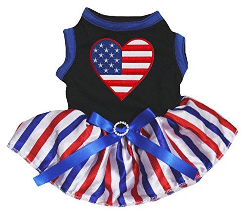 Petitebella American Heart Black Shirt RWB Striped Tutu Puppy Dog Dress (Large)