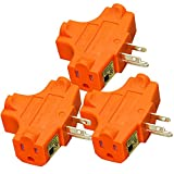 3-Grounded Outlet Adapter, ANKO T-shaped UL Listed Heavy-Duty Grounded Power Tap. (ORANGE-3 PACK)