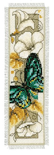 Vervaco Green Butterfly on Flowers Bookmark Cross Stitch Kit