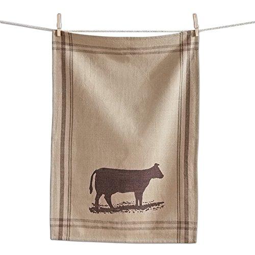TAG Farm Fresh Burlap Style Farm Animal Dish Towel (Cow)