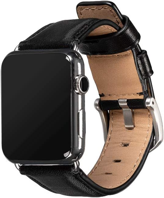 Sena Deen Leather Watch Band for Apple Watch Compatible with 42mm/44mm - Modern, Timeless and Dapper, Black
