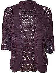 FashionMark Women's Plus Size Crochet Knitted Short Sleeve Cardigan