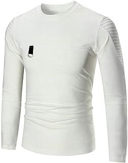 Magliette da Uomo Pullover Manica Lunga Casual Tops Autunno Moda Girocollo Abbigliamento T-Shirt Maglietta Basic Top