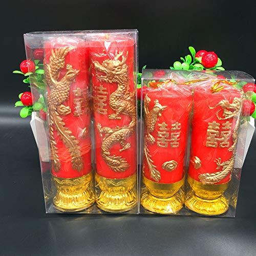 BoCoMo Dragon & Phoenix Candle Design Gold Pattern Wedding Party Decoration,20cm