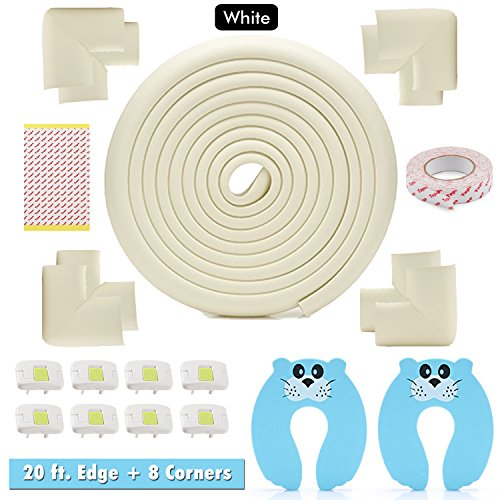 Edge & Corner Protector Set - Long 20ft Foam Sharp Furniture Safety Pads 8 Corners, Cream/White, Baby & Child Cushion Protection, Door Stopper - Electrical Socket Cover Include by Enepo Home Life
