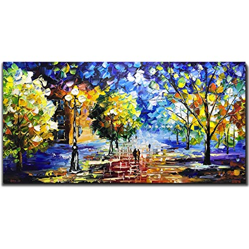 (V-inspire Art, 24X48 Inch Oil Paintings, Street Color at Night. Abstract Canvas Art, 100% Hand-Painted Bedroom Living Room Hanging Oil Paintings Wall Art Decorations)