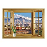 excellent city wall mural SCOCICI Window Mural Wall Sticker/Landscape,Downtown Salt Lake City Skyline in Utah USA Railroads Mountains Buildings Urban,Multicolor/Wall Sticker Mural