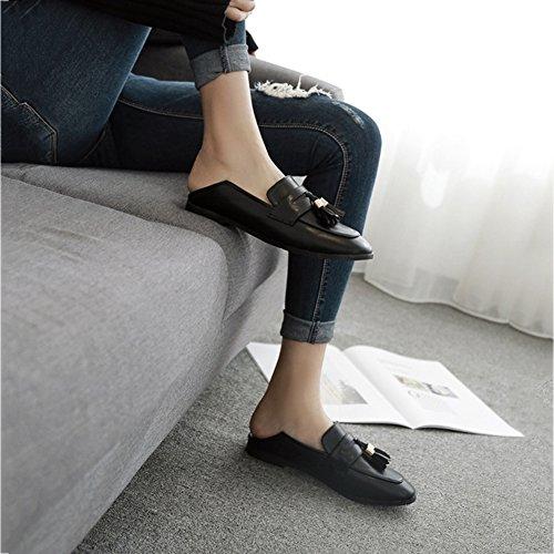 Btrada Kvinna Klassiska Tofs Öre Loafers Skor Tillfälliga Mockasiner Kör Platta Slip På Oxford Skor Svarta