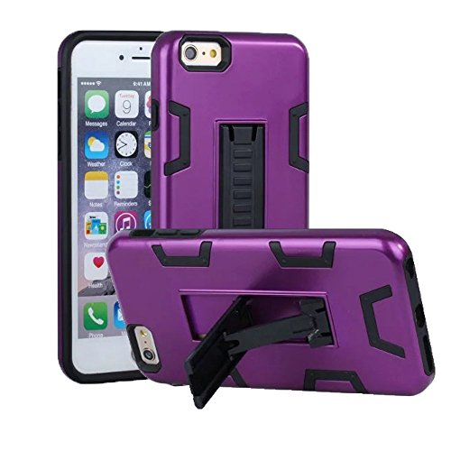 Price comparison product image iPhone 7 Case,  Apple iPhone 7Case,  VPR 2 In 1 Hybrid Dual Layer Plastic+Soft Silicone Armor Shockproof Full Body Protective Kickstand Case For Apple iPhone 7 (Purple+Black)
