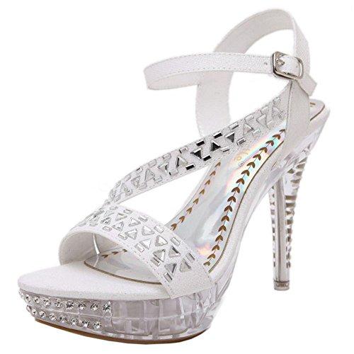 COOLCEPT Zapatos Mujer Punta Abierta Hebilla Al Tobillo Rhinestones Plataforma Party Vestir Sandalias Blanco