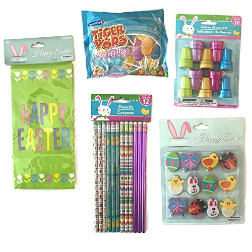 Happy Easter Favor Bag Bundle: Included Happy Easter Bags, Easter Pencils, Easter Stamps, Easter Erasers, and Easter Egg - Do Minion Costume Yourself It