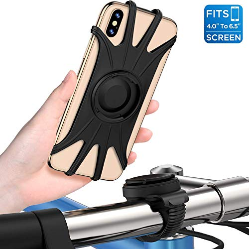 Bike Phone Mount,VUP [Detachable] Silicone Phone Stand for Bicycle,360° Rotation,Face & Touch ID,Universal Motorcycle Phone Mount for iPhone XS MAX/XR/X/8P/7/7P,Galaxy S10/S9/S8,Google Pixel,Nubia,LG