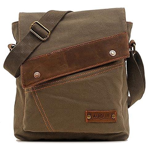 Aibag Unisex Messenger Bag, Vintage Small Canvas Shoulder Crossbody Purse (Army Green)