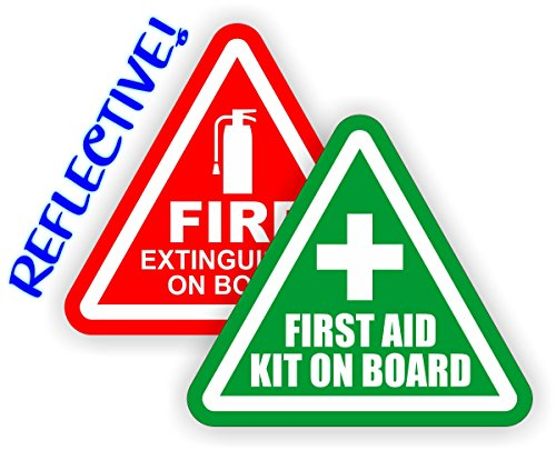 REFLECTIVE 3-inch Fire Extinguisher \ First Aid Kit on Board Vinyl Decals \ Jeep Stickers \ 4x4 Labels Pair