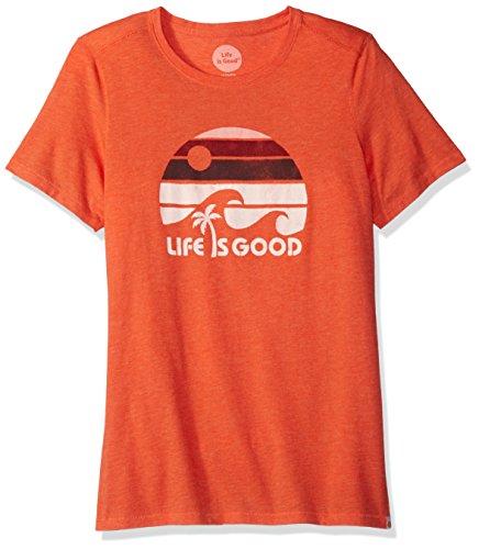 Life is good Shortsleeve Cool Lig Wave Stripe Tee, Coral Orange, Large (Cool Wave)
