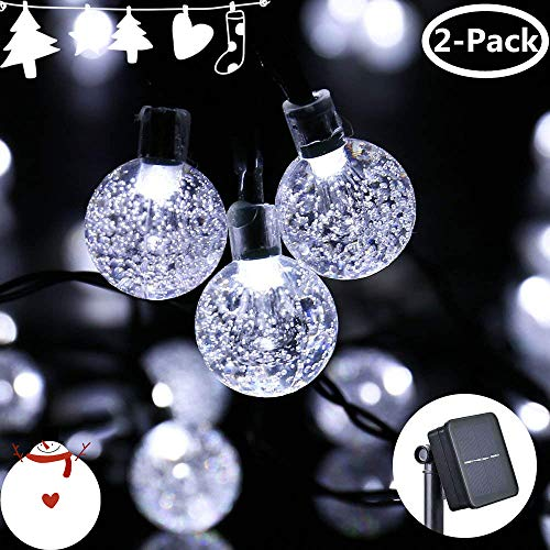 Icicle Solar String Lights, 20ft 30 LED Solar Powered Fairy Globe String Light for Indoor/Outdoor, Christmas, Home, Patio, Lawn, Garden, Wedding, Party Decorations(2 Pack White)
