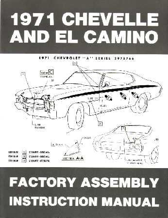 1971 CHEVROLET CHEVELLE EL CAMINO Assembly Manual Book