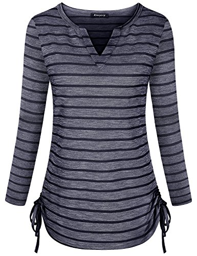 for Women, Girls Tee Shirts Long Sleeve Striped Design Flared Hem Tops Stretchy Warm Gorgeous Looking Shopping Going Out Vacation Daily Wear Clothing Navy Blue Large ()