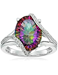 10k White Gold Mystic Fire Topaz and Diamond Oval Ring (1/5cttw, I-J Color, I3 Clarity), Size 7