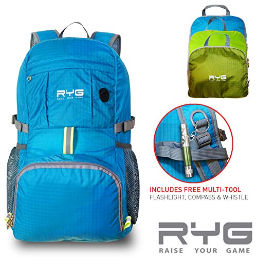 Raise Your Game RYG Venture Day Pack Lightweight Packable Travel Hiking Water-Resistant Stowaway Foldable Storage, Beach, Pool, Camping Hydration Ready for Women and Men Ultralight Backpack (Blue)