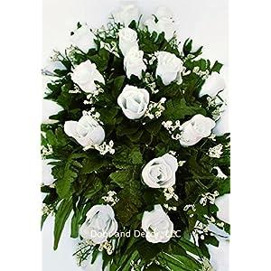 White rose cemetery saddle~Cemetery Arrangement~Graveside Decorations~Headstone Saddle~Saddle Arrangement~Sympathy Flowers~Grave decor~Cemetery Flower Service Subscription~cemetery saddle 2