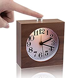 Bedside Clock,ECVISION Small Wooden Clock The Square Black Walnut Alarm Clock Silent Desk Snooze Clocks With Nightlight