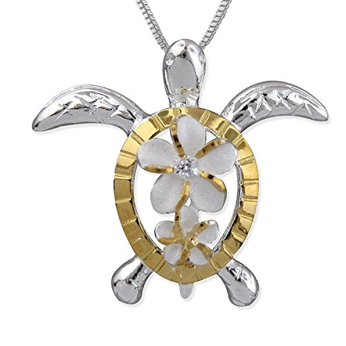 Sterling Silver with 14kt Yellow Gold Plated Turtle Plumeria Pendant Necklace, 16 2 Extender