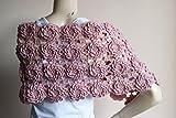 Blush Bridal Cape-Blush Pink Crochet Cape with Flowers/Blush Lace Cape-Bridal Wedding Cape-Bridal Wedding Cape