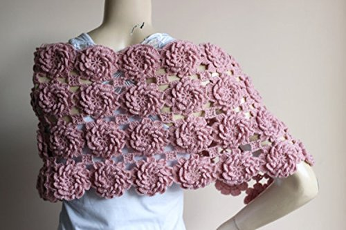 Blush Bridal Cape-Blush Pink Crochet Cape with Flowers/Blush Lace Cape-Bridal Wedding Cape-Bridal Wedding Cape by Istanbul Handmade Stuff