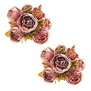 EZFLOWERY 2 Pack Artificial Peony Silk Flowers Arrangement Bouquet for Wedding Centerpiece Room Party Home Decoration, Elegant Vintage, Perfect for Spring, Summer and Occasions (2, Light Purple) 24