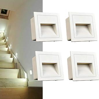 3W luces de escalera LED de con de luminaria empotrada en la pared luminaria empotrable luminaria empotrada en el, aluminio, 230V (cool white, white cover): Amazon.es: Iluminación