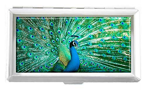 Portrait of Peacock with Feathers Out Design Unisex Stainless Steel Cigarette Holder Case Protection Credit Business Card Storage Box Pocket/Wallet