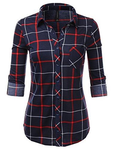 Plaid Flannel Womens (JJ Perfection Womens Long Sleeve Collared Button Down Plaid Flannel Shirt NAVYRED 3XL)