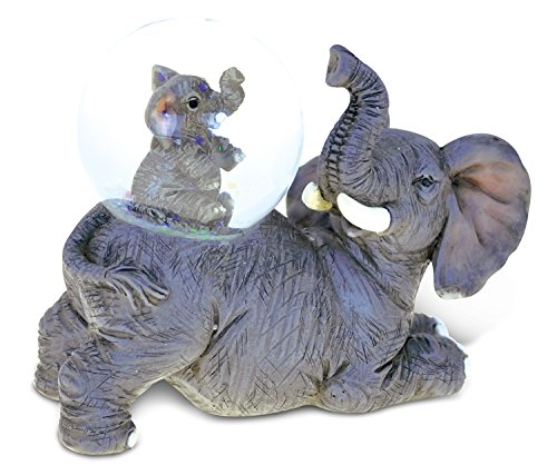 Puzzled Resin Stone Mother Elephant Glass Snow Globe (45mm), 3.5 inch Figurine Intricate Statue Art Handcrafted Tabletop Sculpture Desk Centerpiece Accent - Wild Life Zoo Animals Theme Home Décor