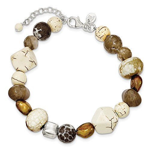 925 Sterling Silver Brown Freshwater Cultured Pearl Mop Agate Magnesite Quartz 1 Extension Br Bracelet Gemstone Fine Jewelry Gifts For Women For Her
