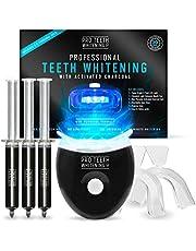 Premium tandenbleekset met geactiveerde houtskool - Blauw 5-punts LED-licht - 6 toepassingen (3 gelspuiten) - Inclusief 2 vormbare mondbakken en hygiënekoffer - Gemaakt door Pro Teeth Whitening Co.