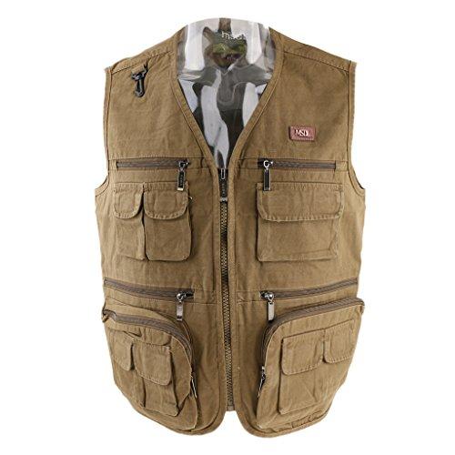 perfk Mens Multi Pocket Casual Gilet Fishing Hunting Hiking Photo Vest...