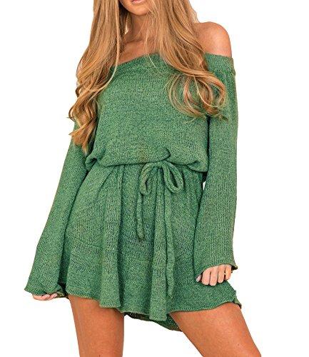 Fuori Della Di Verde Casuale Corto Signore Lunghi Manicotti Spalla Maglione Invernale Eleganti Dal Delle Donna Vestito Zhaoyun Modo X1zR44
