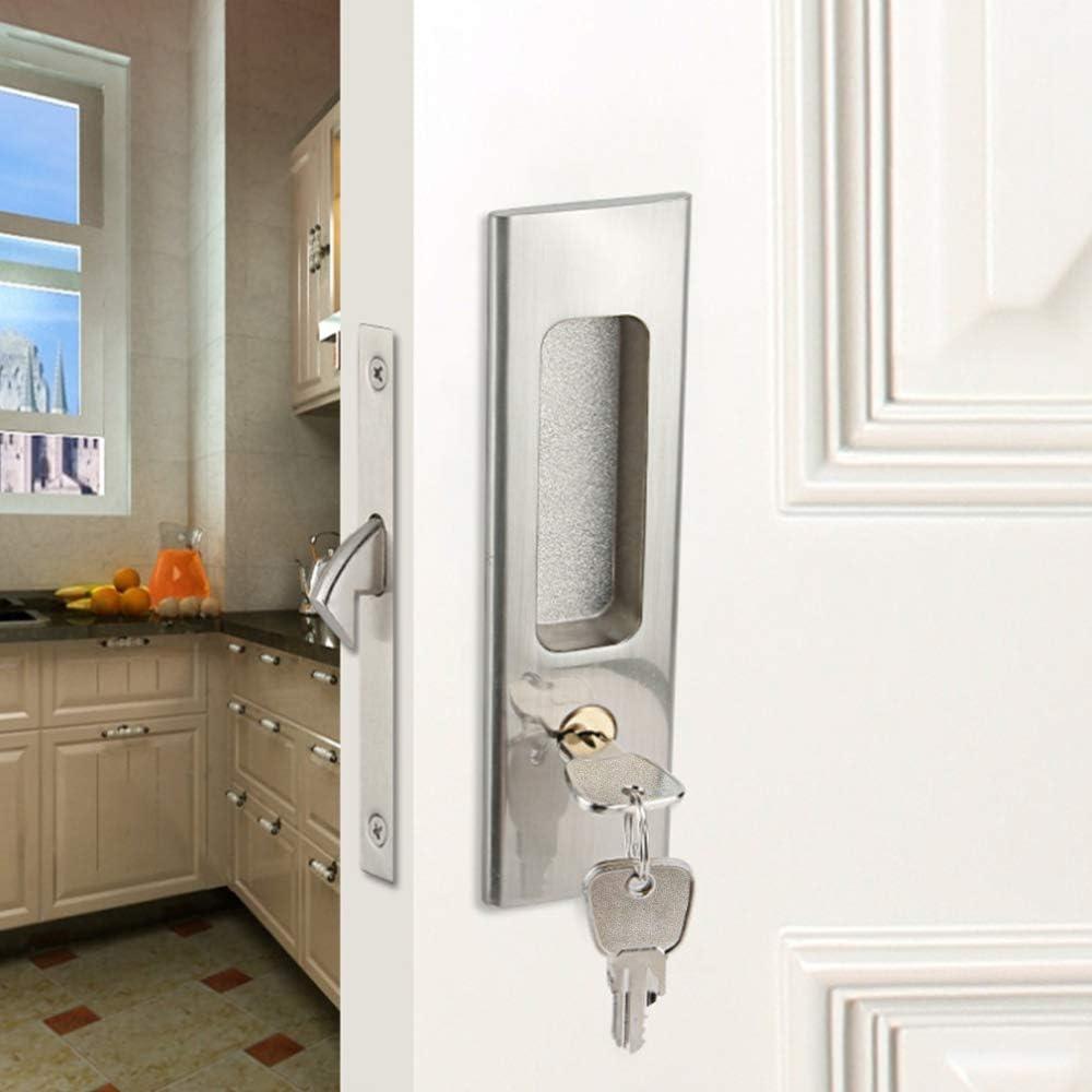 CCJH Invisible Sliding Door Lock Handle with 3 Keys Zinc Alloy for Sliding Barn Wooden Door Pocket Door Furniture Hardware Silver