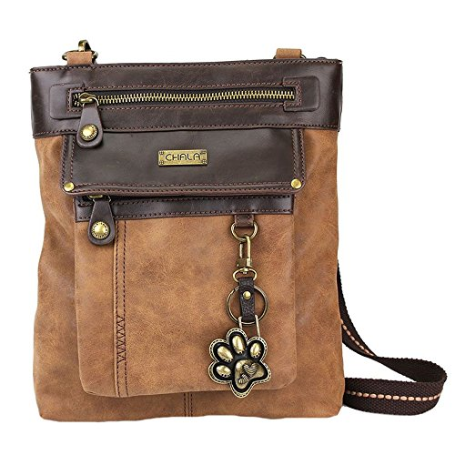 Chala Paw Print 3-in-1 Gemini Crossbody Handbag, Dog Lovers Gift (Brown)