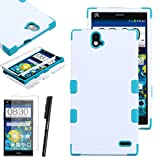 ZTE Grand X Max+ Plus Case, Luxca (Tm) Grand X Max+ Plus (ZTE Z987) Hybrid Heavy Duty Rugged Impact Advanced Armor Symbiosis Soft Silicone Cover Tuff Hard Robust Snap On Dynamic Case + Clear Lcd Screen Protector + Luxca (Tm) Stylus Pen (Ivory White / Teal Tuff)